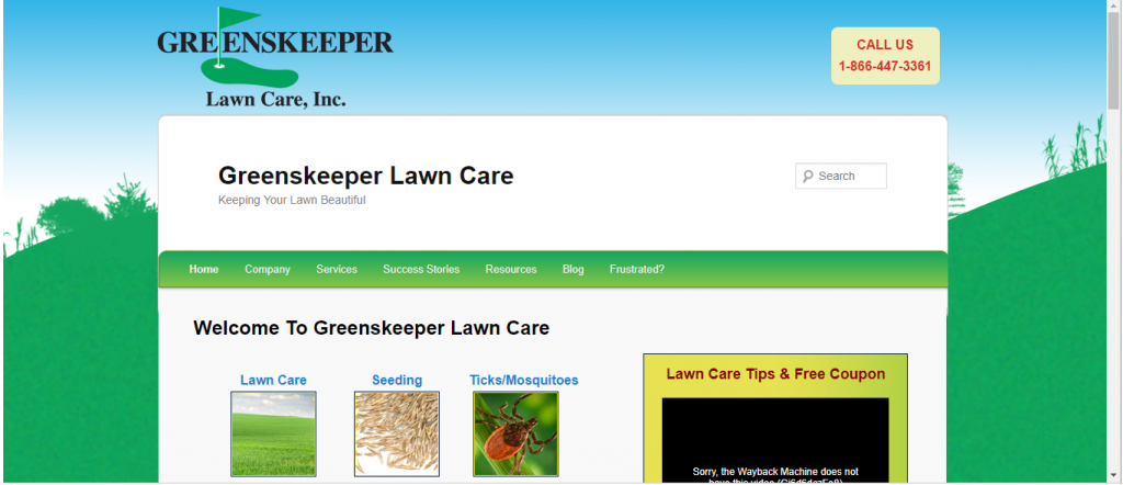 Old Website Screenshot - Greenskeeper Lawn Care